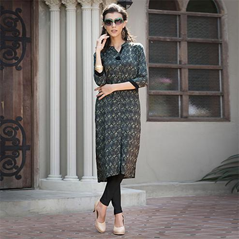 Mesmerising Black-Gray Colored Casual Printed Rayon Kurti