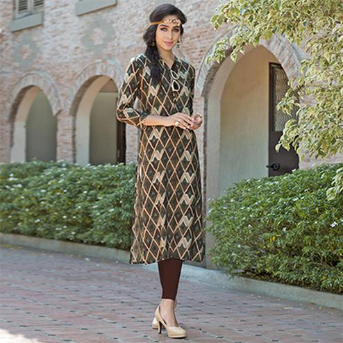 Lavishing Brown Colored Casual Printed Rayon Kurti