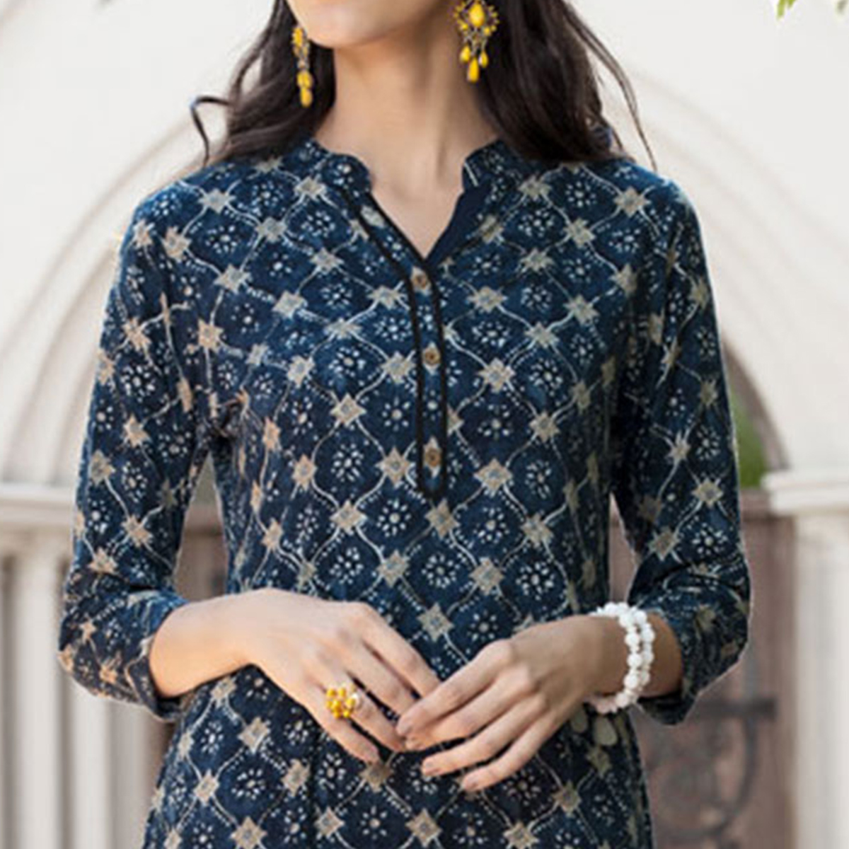 Classy Blue Colored Casual Printed Rayon Kurti
