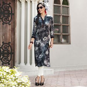 Beautiful Black Colored Casual Printed Rayon Kurti