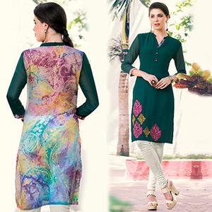 Gorgeous Green Colored Casual Printed Georgette Kurti