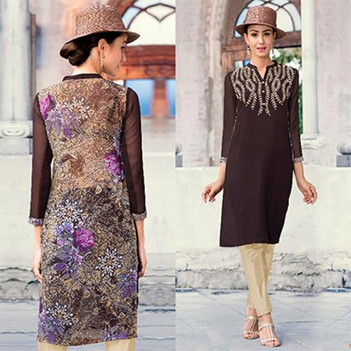 Graceful Brown Colored Casual Printed Georgette Kurti