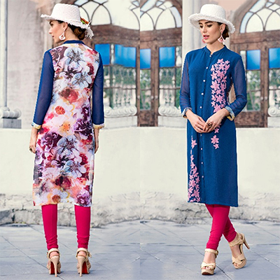 Lovely Blue Colored Casual Printed Georgette Kurti