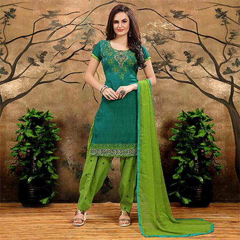 Green Casual Printed Patiala Suit