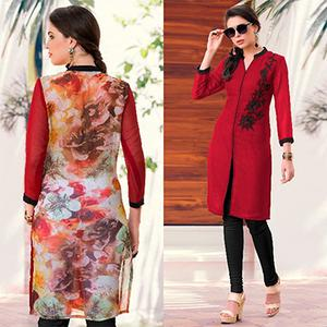 Charming Red Colored Casual Printed Georgette Kurti