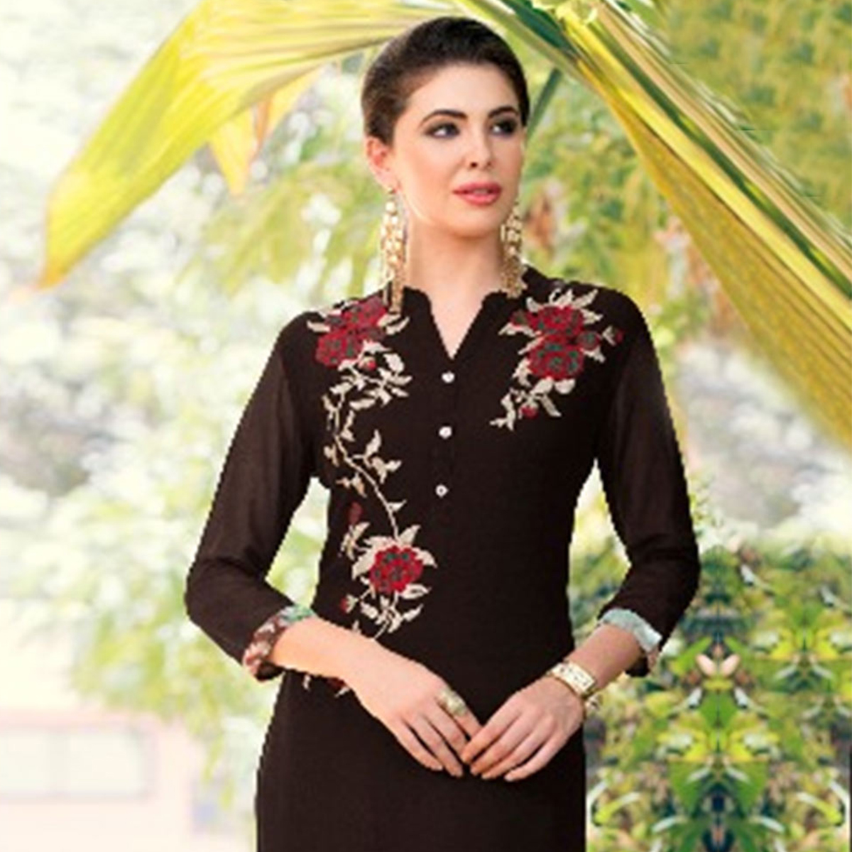 Classy Dark Brown Colored Casual Printed Georgette Kurti