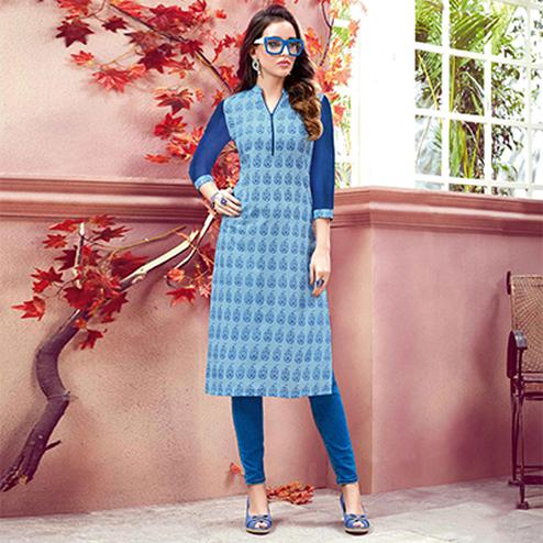Blooming Blue Colored Casual Printed Cotton Kurti