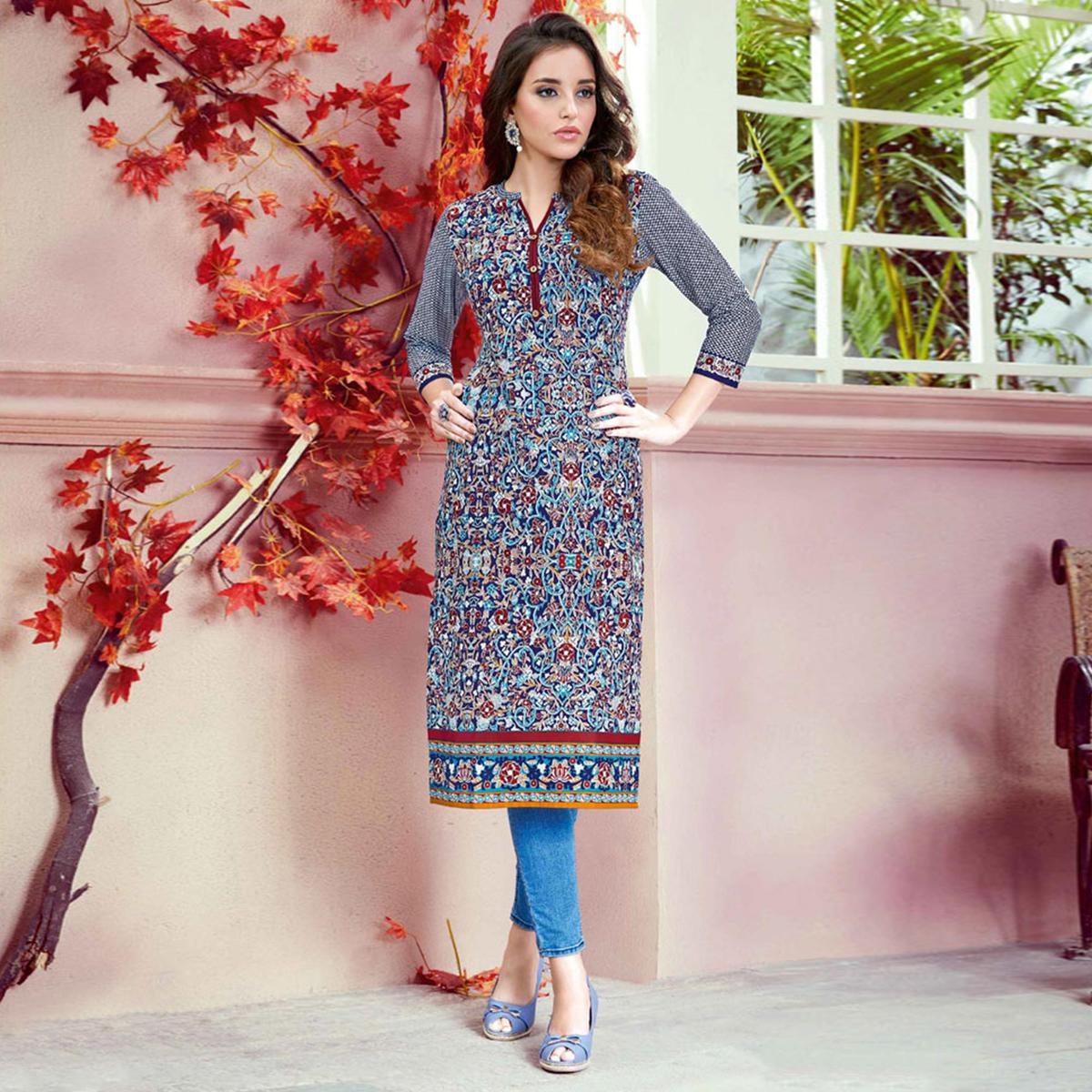 Lovely Multi Colored Casual Printed Cotton Kurti