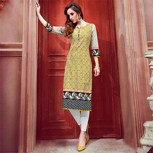 Alluring Yellow Colored Casual Printed Cotton Kurti