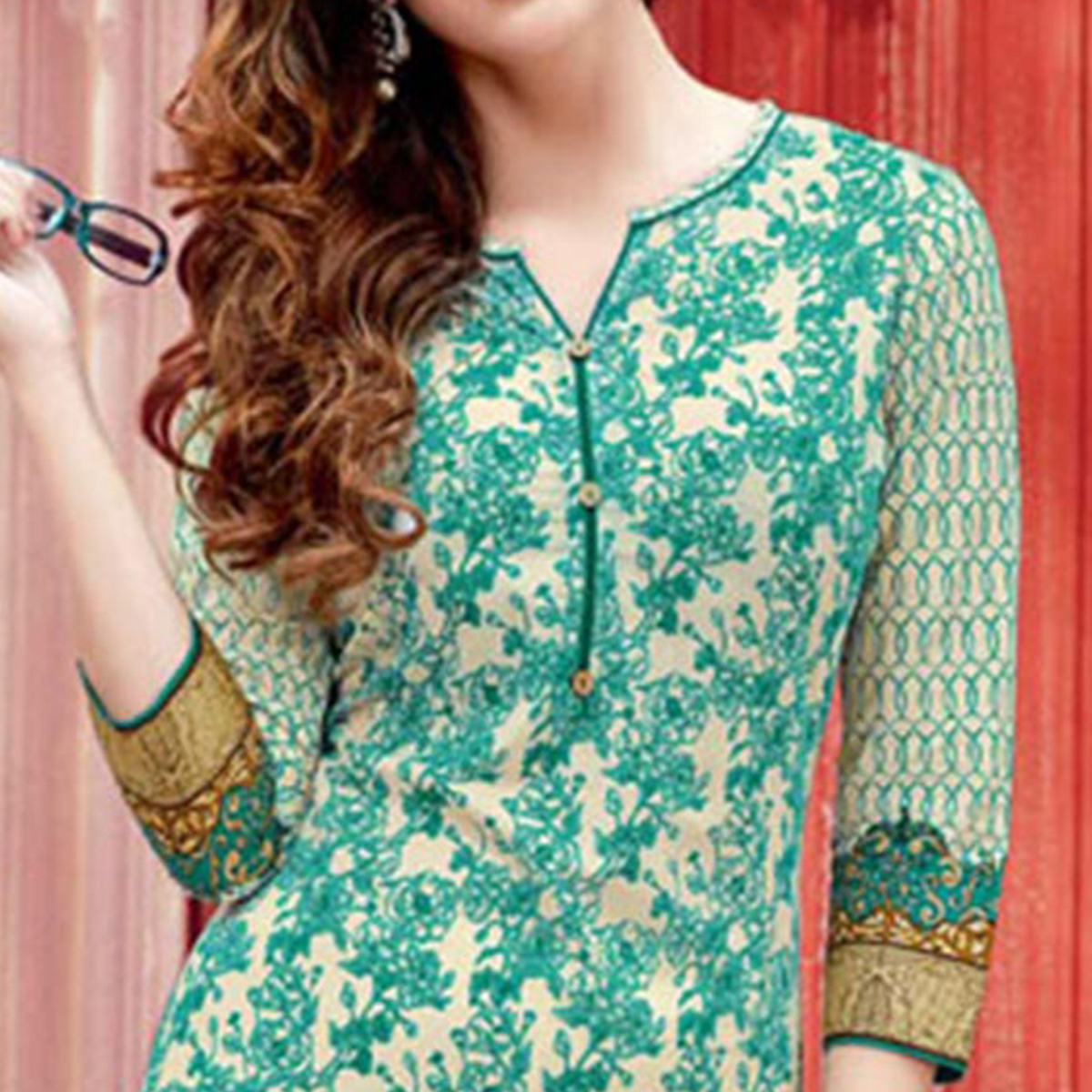 Charming Green Colored Casual Printed Cotton Kurti