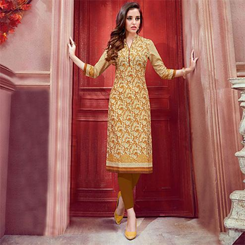 Classy Cream Colored Casual Printed Cotton Kurti