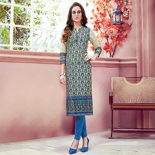 Attractive Multi Colored Casual Printed Cotton Kurti