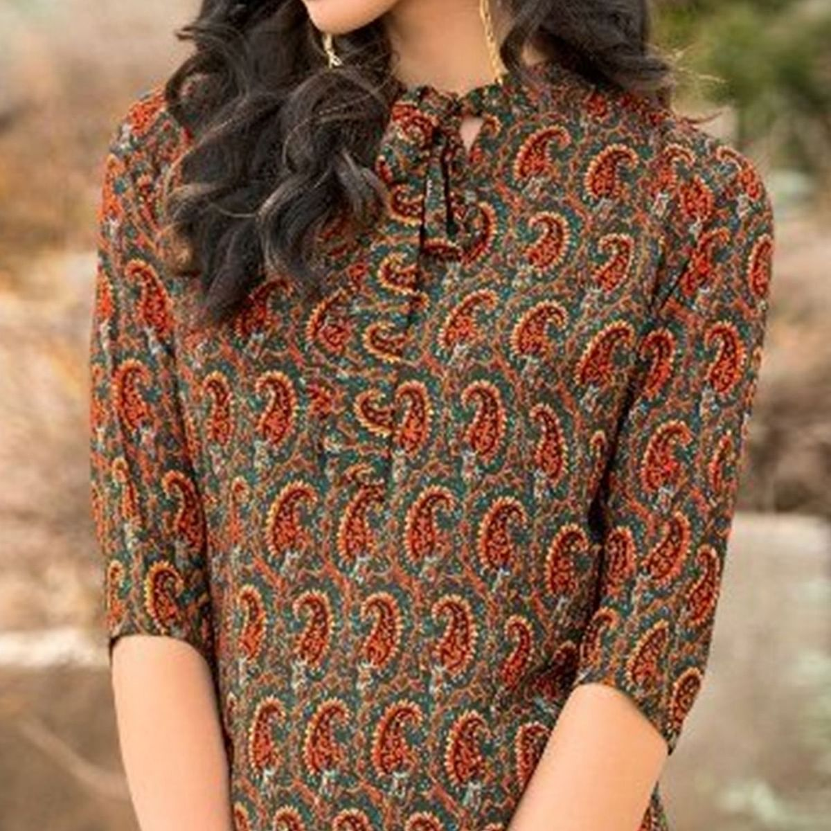 Trendy Multi Colored Casual Printed Cotton Short Kurti