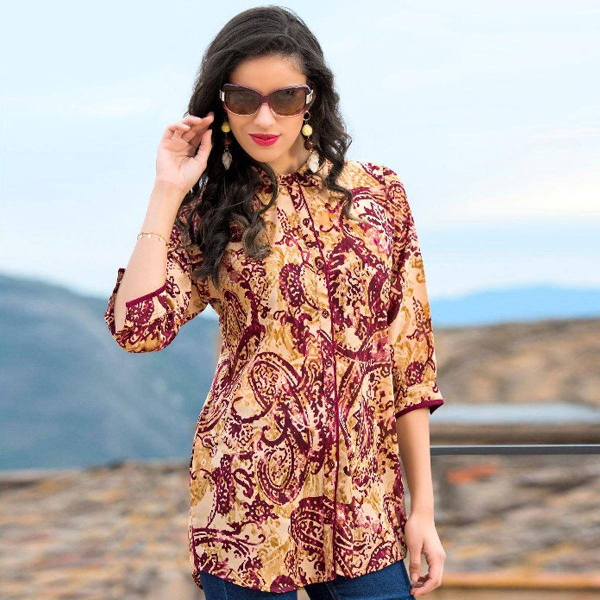 Lovely Maroon-Cream Colored Casual Printed Cotton Short Kurti