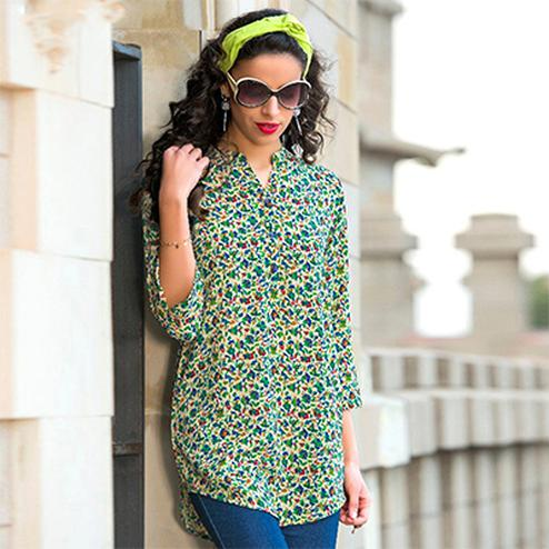 Cool Green Colored Casual Printed Cotton Short Kurti