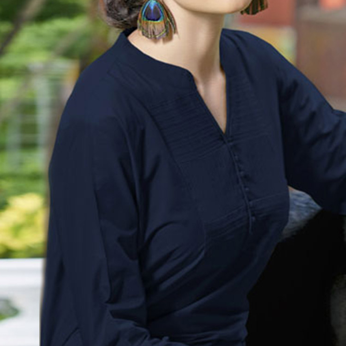 Navy Blue Colored Plain Casual Cotton Short Kurti
