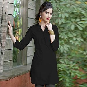 Black Colored Plain Casual Cotton Short Kurti