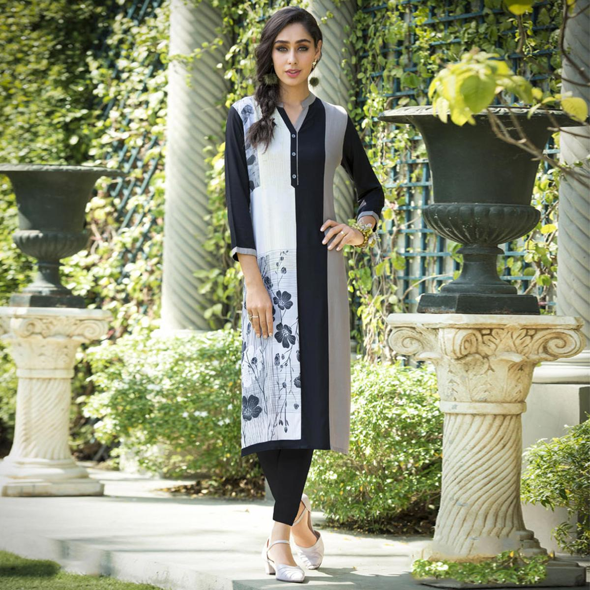 Beautiful Black-White Colored Casual Printed Rayon Kurti