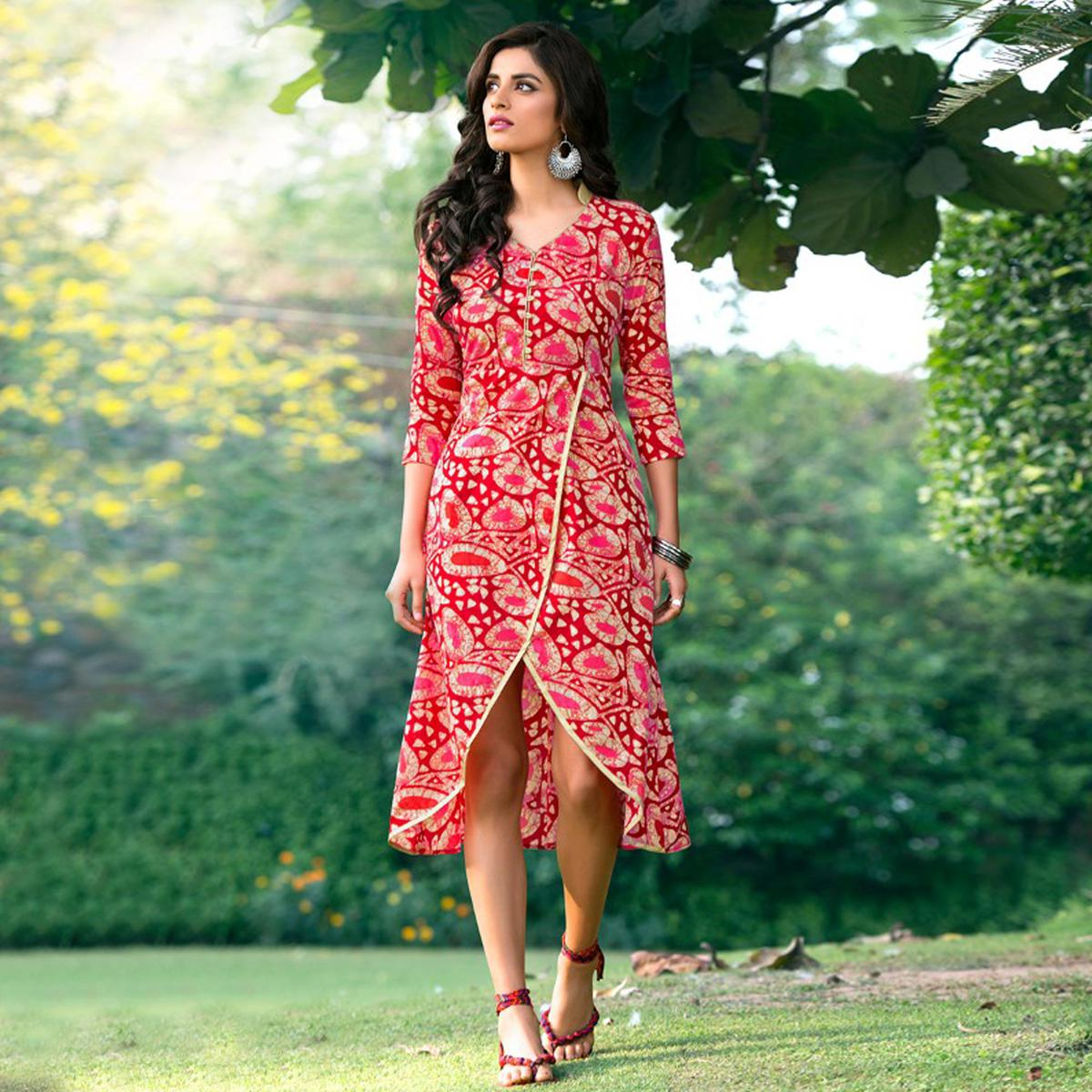 Red Color Layered Cotton Fancy Kurti