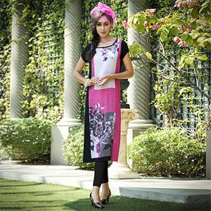 Lovely Pink Colored Casual Printed Rayon Kurti
