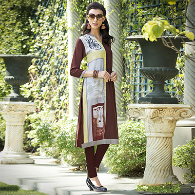 Ravishing Brown Colored Casual Printed Rayon Kurti