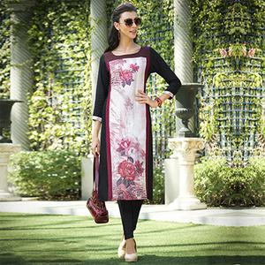 Dazzling Off-White-Black Colored Casual Printed Rayon Kurti