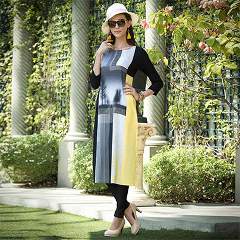 Mesmerising Black-Yellow Colored Casual Printed Rayon Kurti