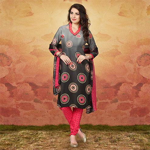 Shaded Grey - Black Casual Wear Printed Traky Silk Dress Material
