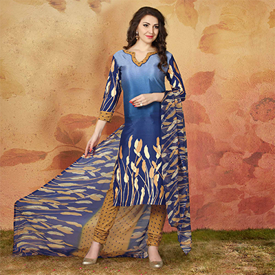 Blue Casual Wear Printed Traky Silk Dress Material