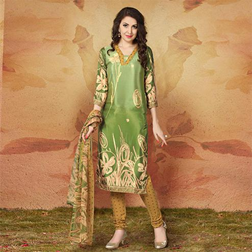 Green Casual Wear Printed Traky Silk Dress Material