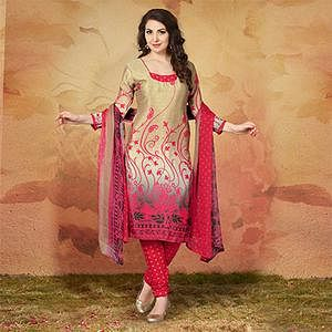 Beige - Pink Casual Wear Printed Traky Silk Dress Material