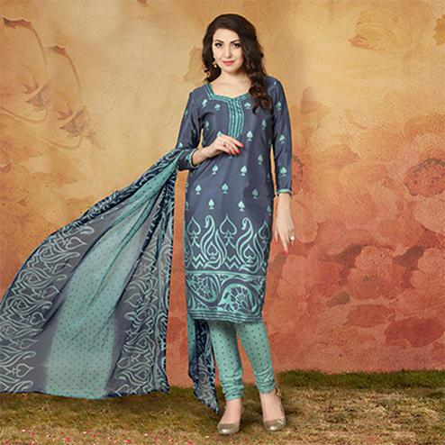 Grey Casual Wear Printed Traky Silk Dress Material
