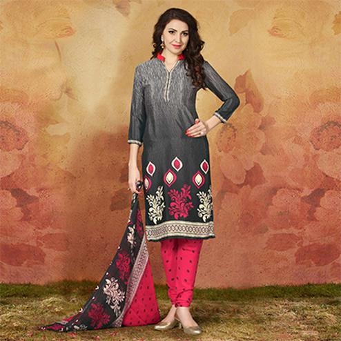 Dark Grey Casual Wear Printed Traky Silk Dress Material