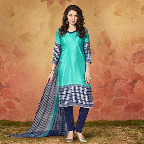 Turquoise Blue Casual Wear Printed Traky Silk Dress Material