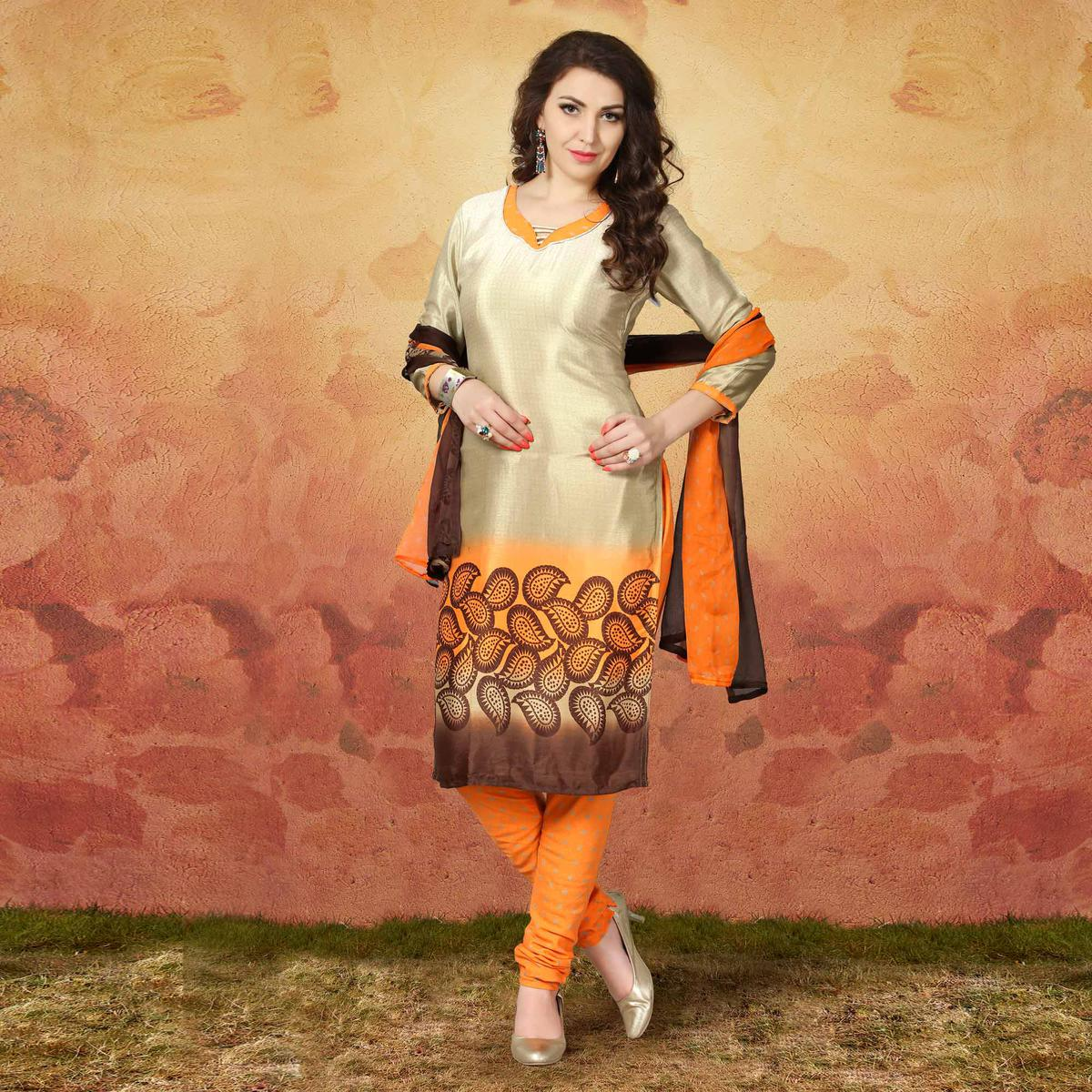 Beige - Orange Casual Wear Printed Traky Silk Dress Material