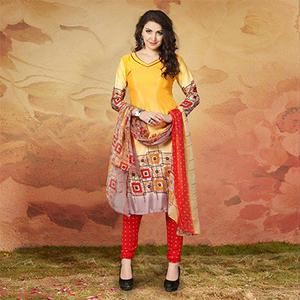 Yellow Casual Wear Printed Traky Silk Dress Material