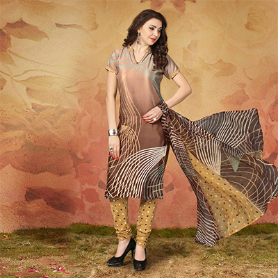 Brown Casual Wear Printed Traky Silk Dress Material