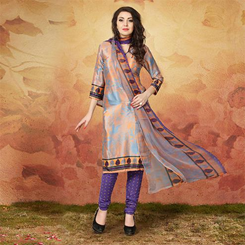 Grey - Orange Casual Wear Printed Traky Silk Dress Material
