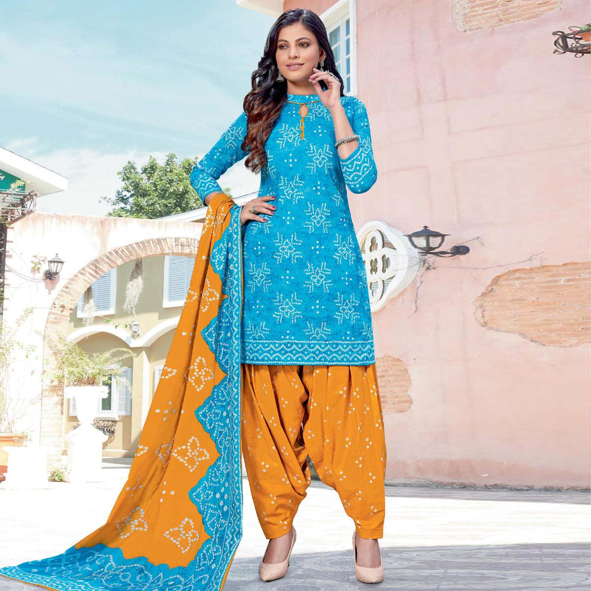 Sky Blue Casual Wear Bandhani Printed Cotton Dress Material