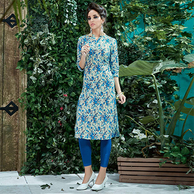 Off-White-Blue Colored Casual Printed Cotton Kurti