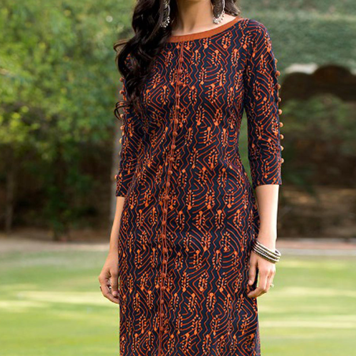 Navy Blue - Orange Printed Casual Wear Kurti