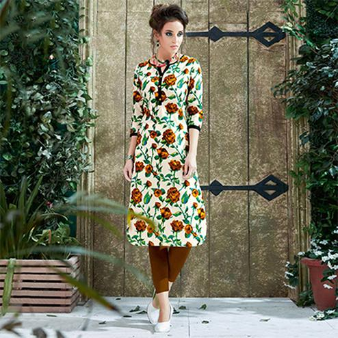 Cream Colored Casual Printed Cotton Kurti