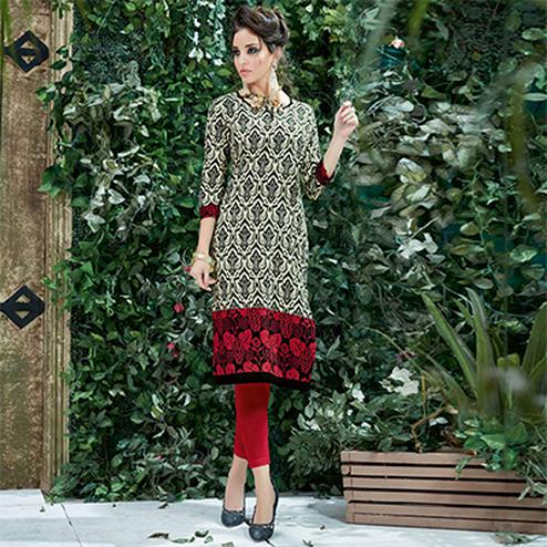 Beige-Red Colored Casual Printed Cotton Kurti