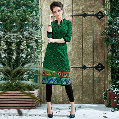 Green Colored Casual Printed Cotton Kurti