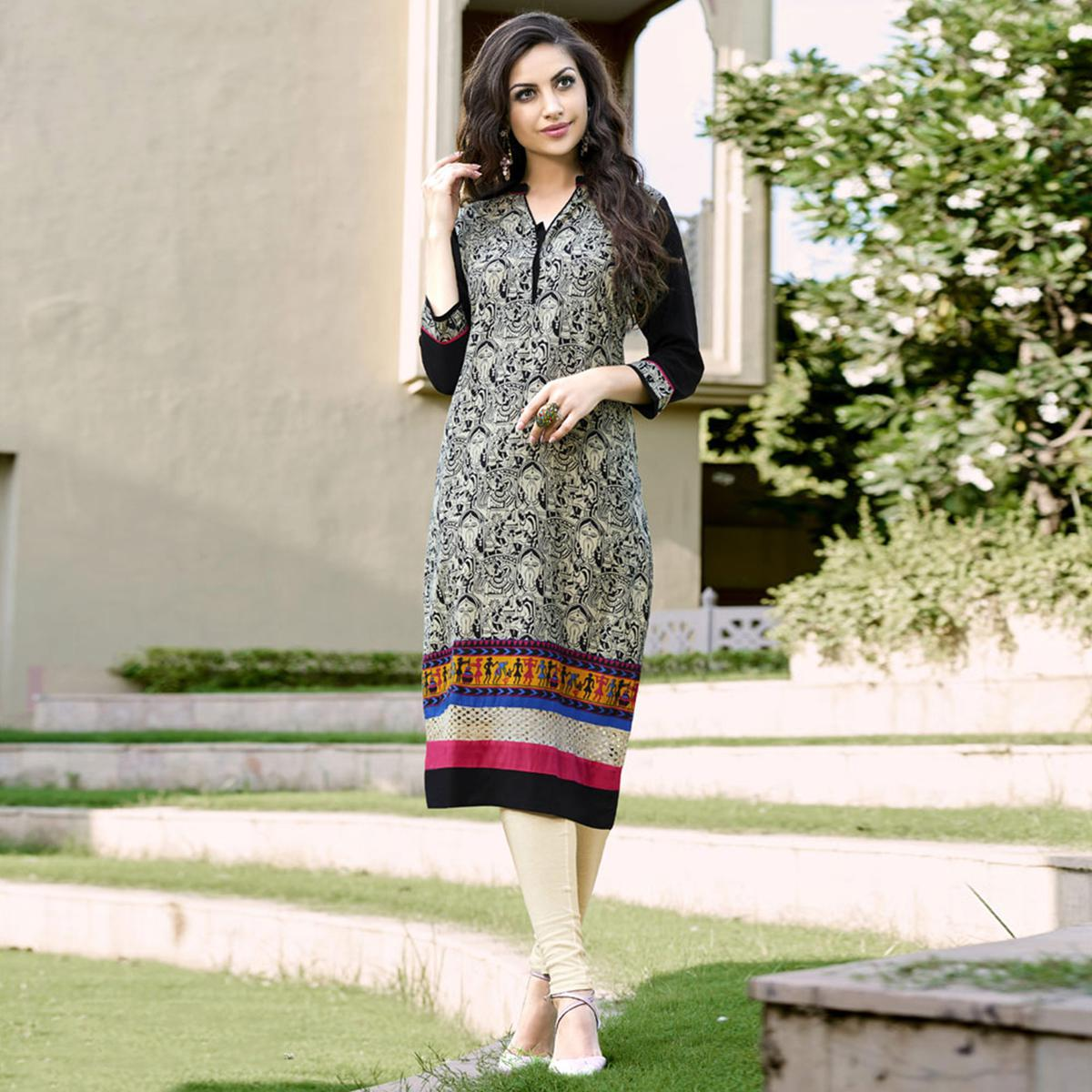 Beautiful Beige-Black Colored Casual Printed Cotton Kurti