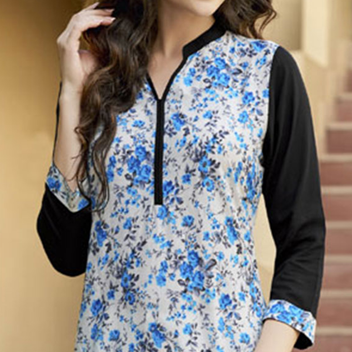 Classy Off-White-Blue Colored Casual Printed Cotton Kurti