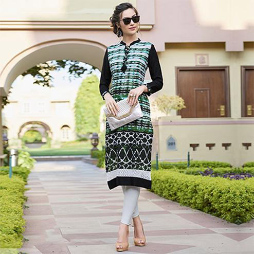 Smart Black-Green Colored Casual Printed Cotton Kurti