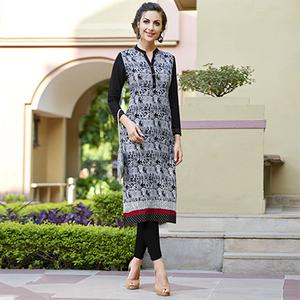 Trendy Black-White Colored Casual Printed Cotton Kurti