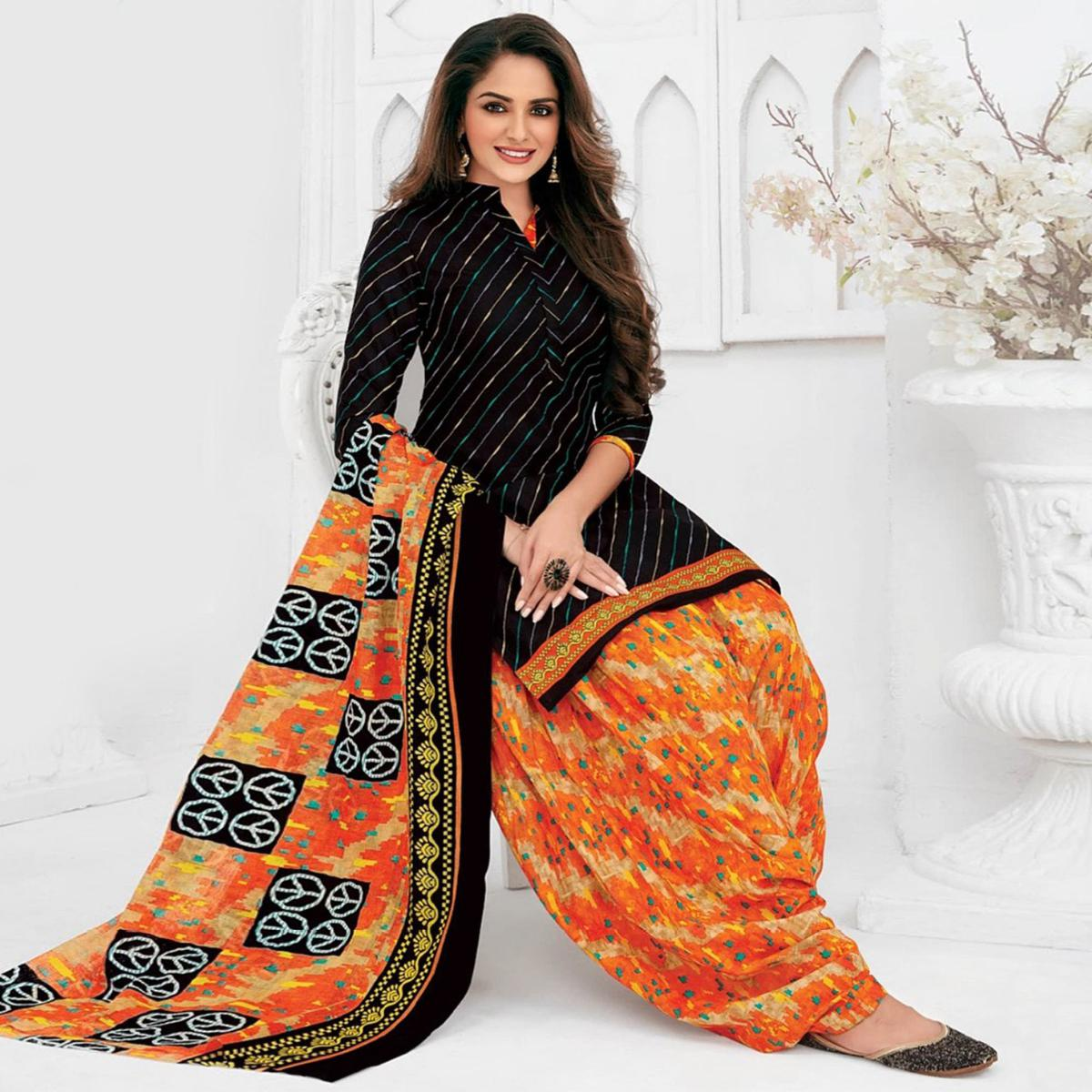 Black Casual Wear Stripes Printed Stitched Cotton Patiyala Suit With Dupatta