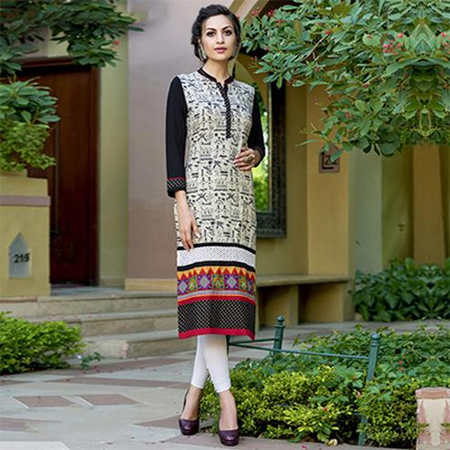 Gorgeous Beige Colored Casual Printed Cotton Kurti